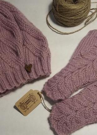 Милые розовые митенки hand made