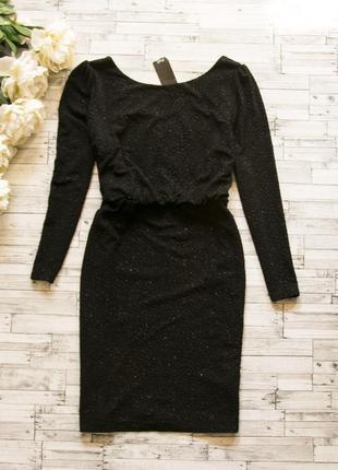 Черное фактурное платье с блестком f&f