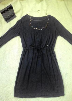 Синее платье, свободного кроя