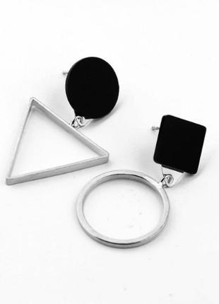Серьги сережки асимметрия геометрические