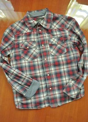 Клетчатая рубашка на кнопках на мальчика logg