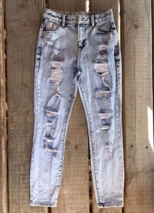 Стильные рваные женские джинсы denim co