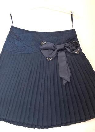 Синяя юбка плиссе в складочку с бантом на девочку 116-122см