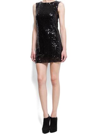 Новое стильное платье в черных пайетках mango 6-8pp mango