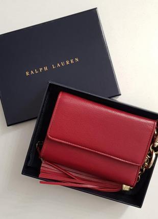 Красный кожаный кошелек ralf lauren