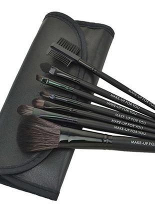 Стильный набор кистей для макияжа в чехле 7 штук