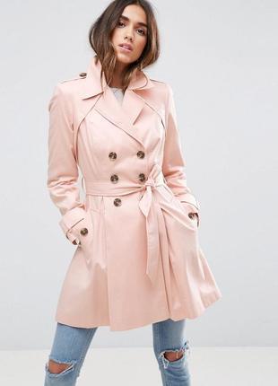 Стильный приталенный пастельно-розовый двубортный тренч плащ пальтоxxs-xs asos