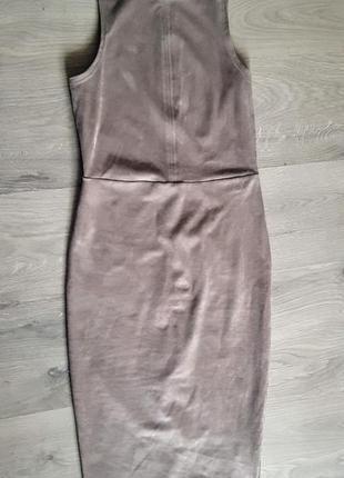 Шикарное эластичное платье футляр из эко замши бежевое