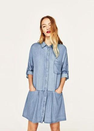 Голубое джинсовое платье-рубашка 144059 zara размер s