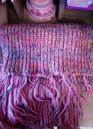 Большой вязаный шарф в нежных градиентных розовых тонах,польша