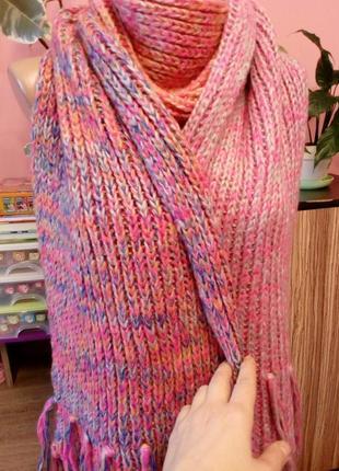 Большой вязаный шарф в нежных градиентных розовых тонах,польша3