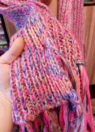 Большой вязаный шарф в нежных градиентных розовых тонах,польша4