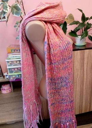 Большой вязаный шарф в нежных градиентных розовых тонах,польша5