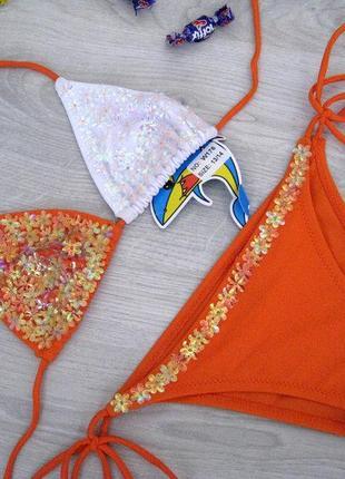 Детский купальник шторками (оранжевый)