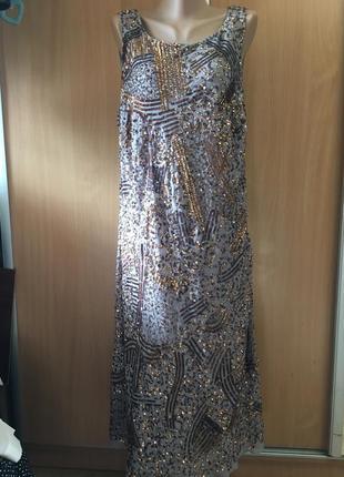 Вечернее платье с красивой спинкой в пайетках большой размер 20