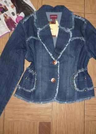 Женская джинсовая куртка с бахромой р.l