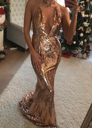 Вечернее выпускное длинное макси платье рыбка в паетках