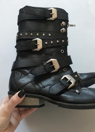 Демисезонные чёрные ботинки firetrap натуральная кожа сделано в индии