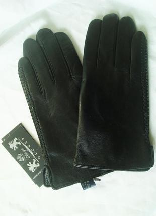 Мужские кожаные перчатки, подкладка махра, румыния