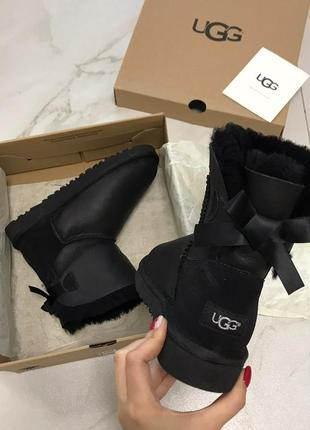 Ugg australia mini bow black натуральные угги , 36-39