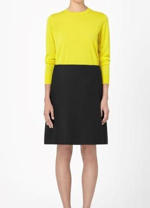 Тёплая стильная шерстяная драповая юбка, натуральная шерсть, оригинал cos