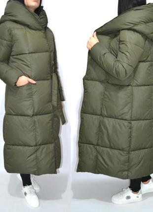 Пуховик одеяло макси оверсайз теплое длинное пальто био пух.