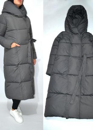Пуховик одеяло оверсайз теплое длинное пальто био пух.