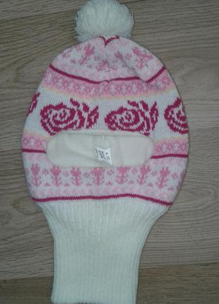 Супер красивая, теплая, мягкая вязаная, зимняя детская шапочка- хомут