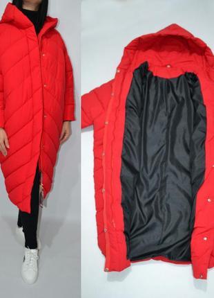 Пуховик одеяло  оверсайз кокон куртка зимняя био пух.2 фото