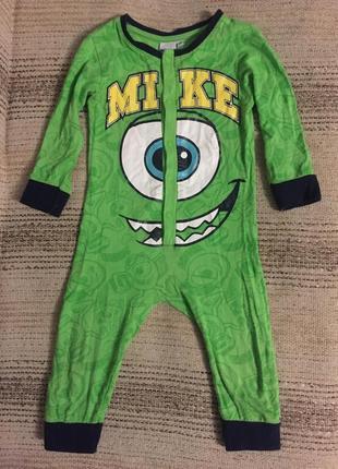 Трикотажный салатовый слип пижама человечек монстрик mike от disney