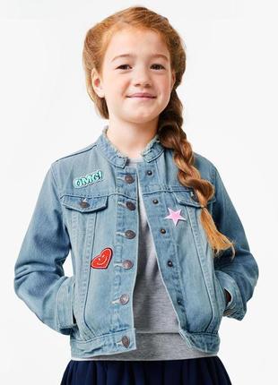Джинсовая куртка/пиджак с наклейками tchibo, р. 146/152