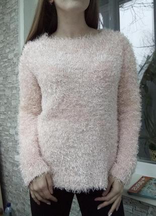 Теплый свитер кофта в травку