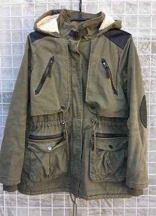 Горчичная курточка парка