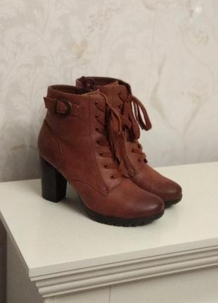 38 коричневые ботинки на шнуровке ботильоны женские демисезонные рыжие осенние как новые
