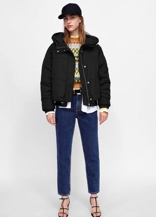 Стеганая куртка с капюшоном zara, размер