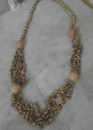 Стильные деревянные бусы ожерелье 48 см