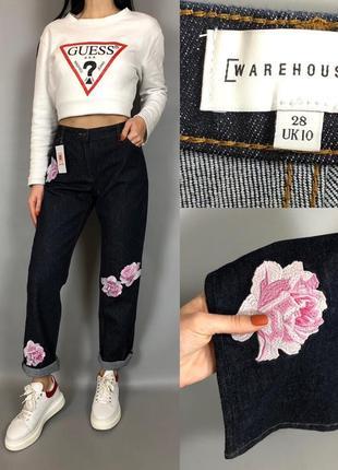 Джинсы с вышивкой индиго плотные бойфренд завышенная посадка warehouse