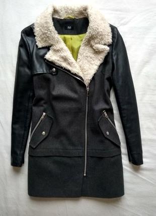 Пальто с кожаными рукавами f&f