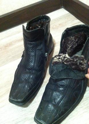 Мужские кожаные сапоги ботинки на овчине