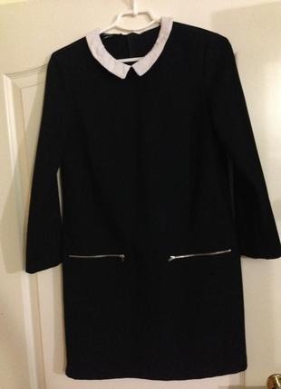 Чёрное офисное платье mango