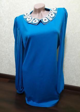 Платье   , воротник с  бисером2 фото