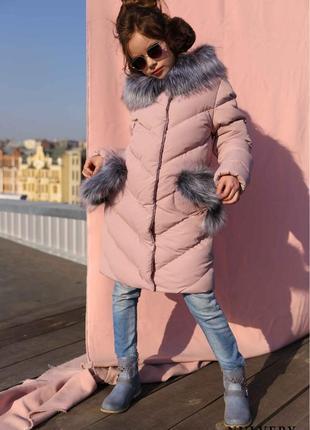 Детская зимняя куртка пуховик для девочки банни,116-158