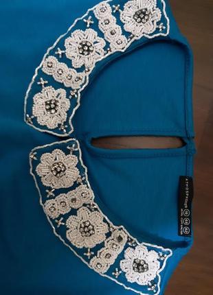 Платье   , воротник с  бисером4 фото