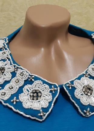 Платье   , воротник с  бисером5 фото