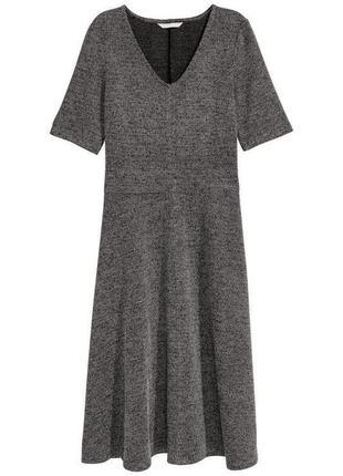 Серое платье миди s h&m,серое трикотажное платье миди с рукавчиком,лаконичное платье миди