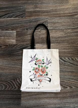 Белая хлопковая сумка сумочка шопер шоппер с принтом рисунком цветы цветочки розы primark