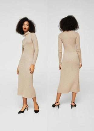 Бежевое трикотажное платье миди с гольфом mango m,платье миди в рубчик