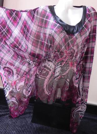 Оригинальная шифоновая накидка туника блуза made in italy