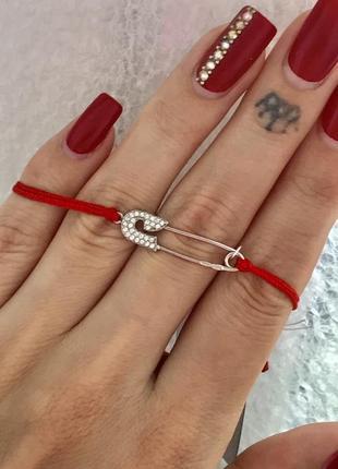 Красная нить серебряная браслет булавка 4076