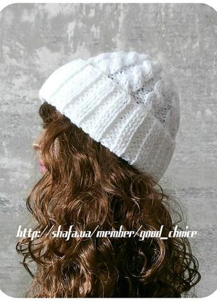 Любая расцветка! с помпоном и без! хлопковая шапка с отворотом/с косами белого цвета